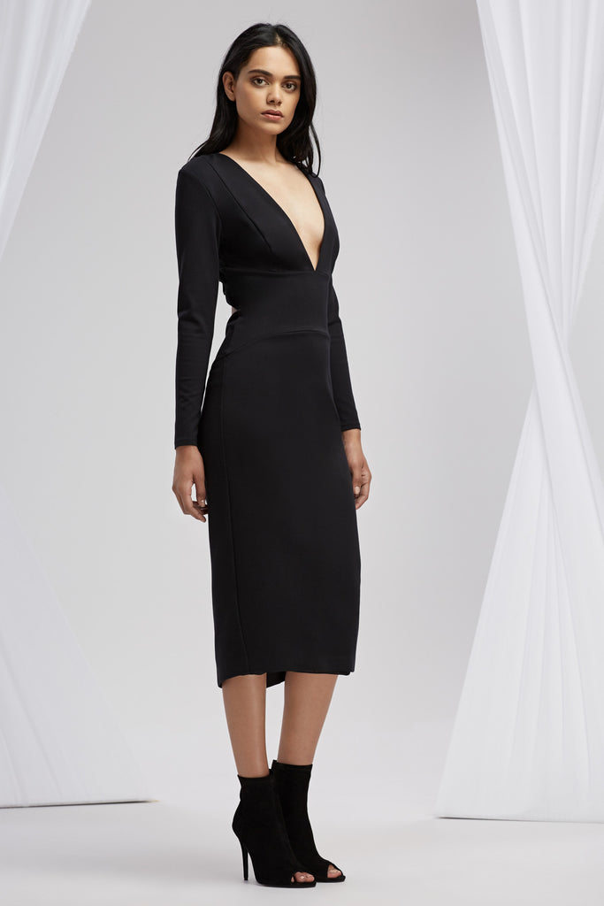HENSON LONG SLEEVE DRESS black