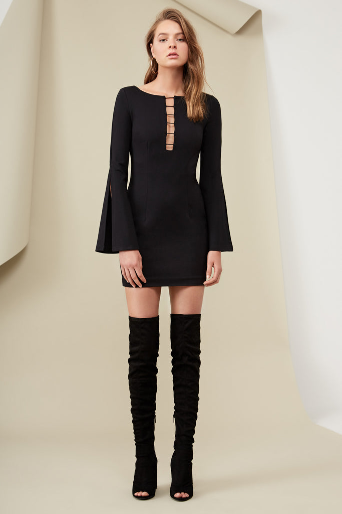 KENDRICK LONG SLEEVE DRESS black