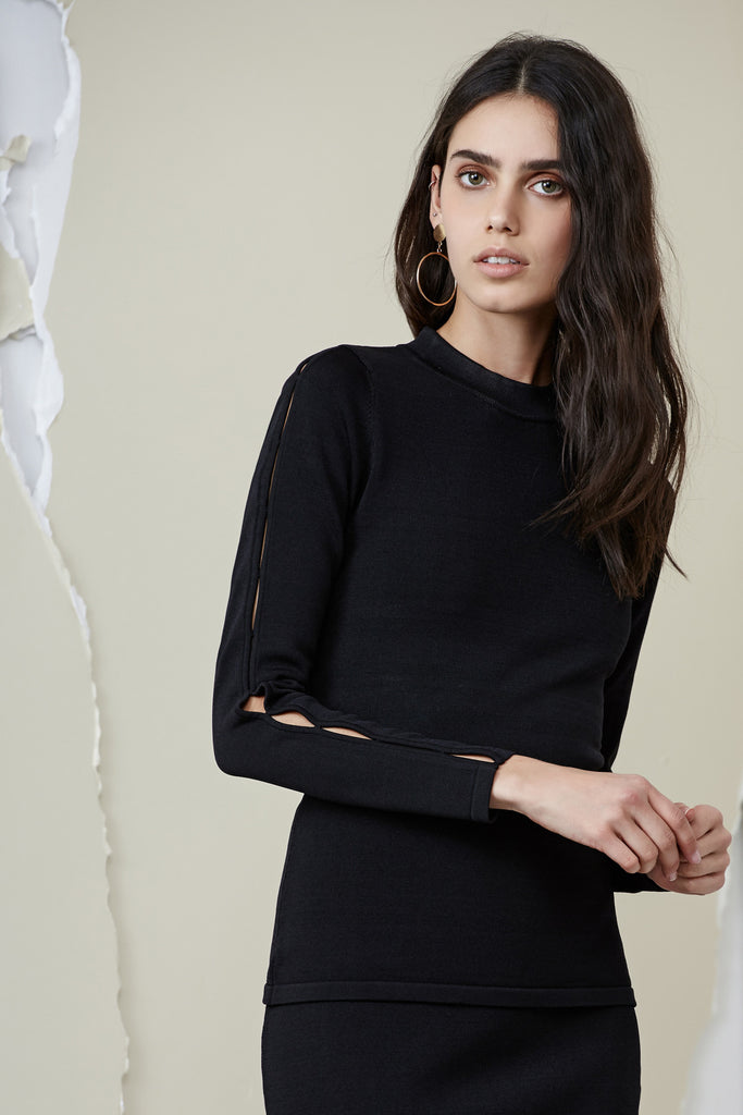 AINSLEY LONG SLEEVE KNIT black
