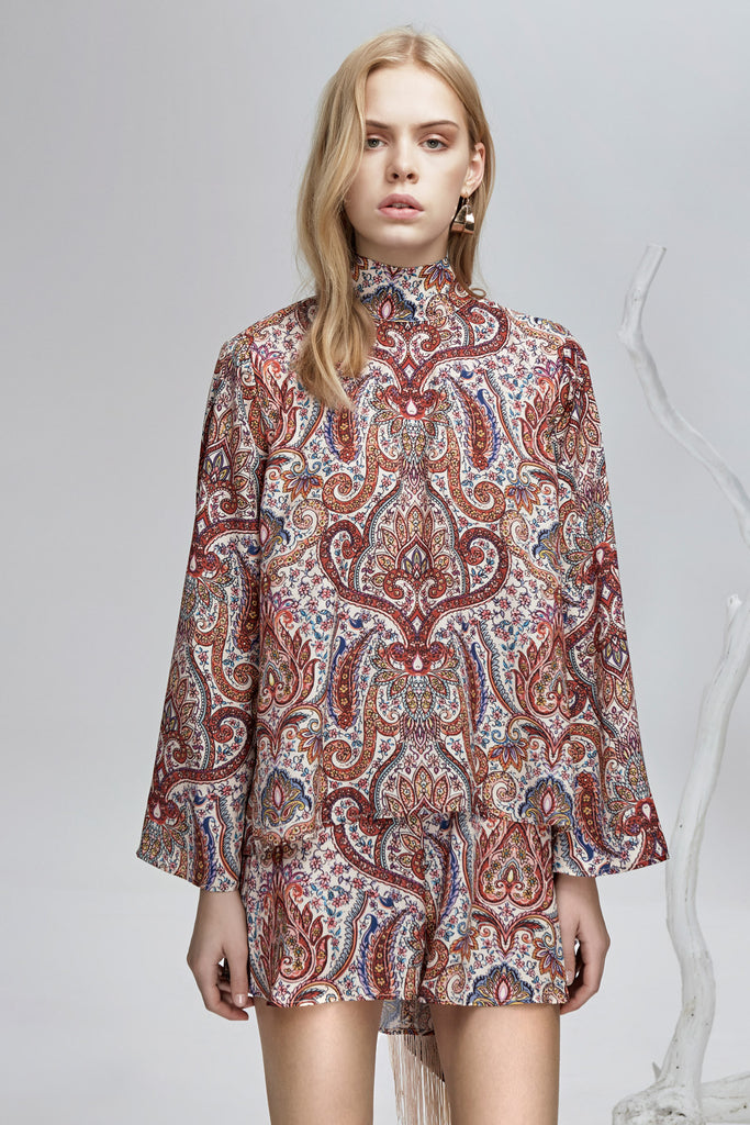 CYRUS PRINT LONG SLEEVE TOP henna print