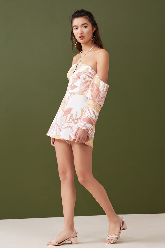 BLOOM PLAYSUIT ivory floral