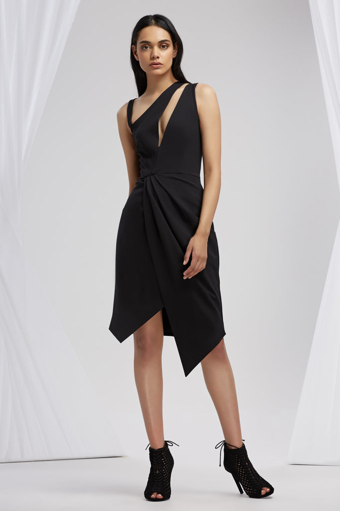 HENSON WRAP DRESS black