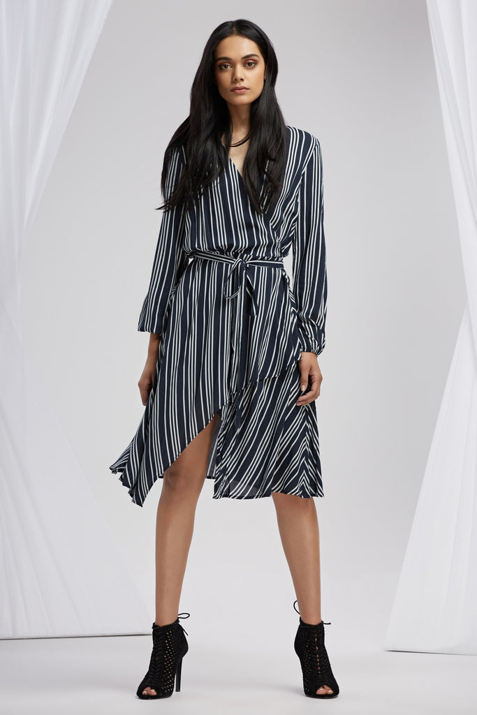 IRA LONG SLEEVE DRESS navy stripe