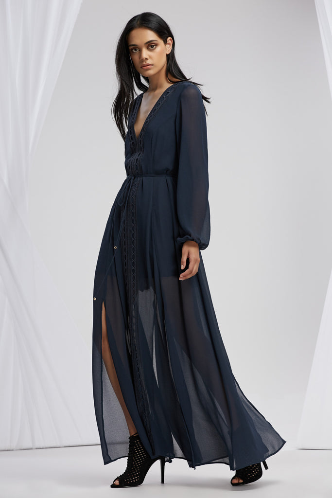 MAISON LONG SLEEVE MAXI DRESS slate