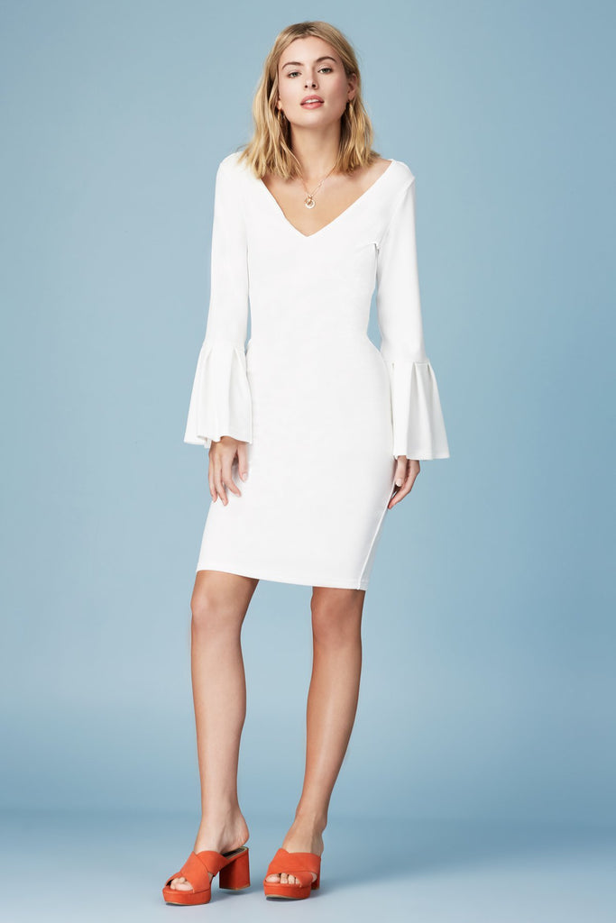 SIGNS LONG SLEEVE DRESS ivory