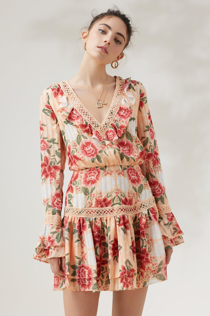 ARCADIA LONG SLEEVE MINI DRESS glow floral