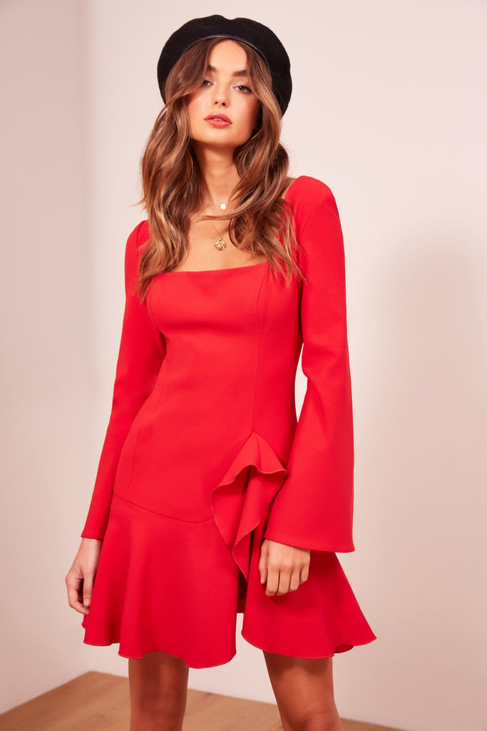 GOODBYE LONG SLEEVE DRESS red