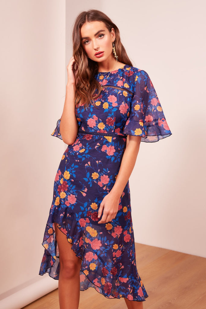 VISIONS DRESS navy floral
