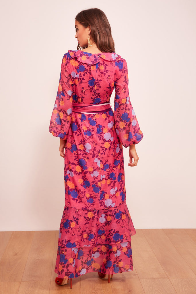 VISIONS LONG SLEEVE DRESS fuschia floral