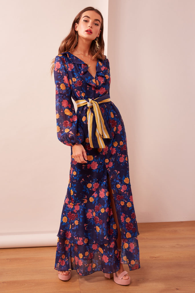 VISIONS LONG SLEEVE DRESS navy floral