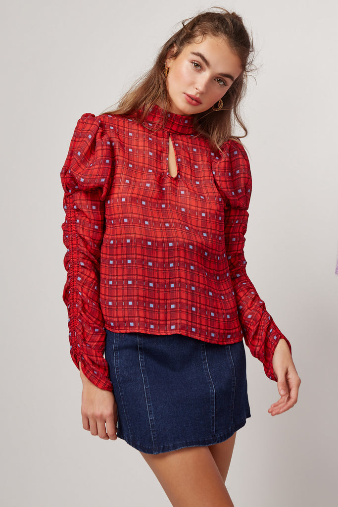 SORRENTO LONG SLEEVE TOP red check
