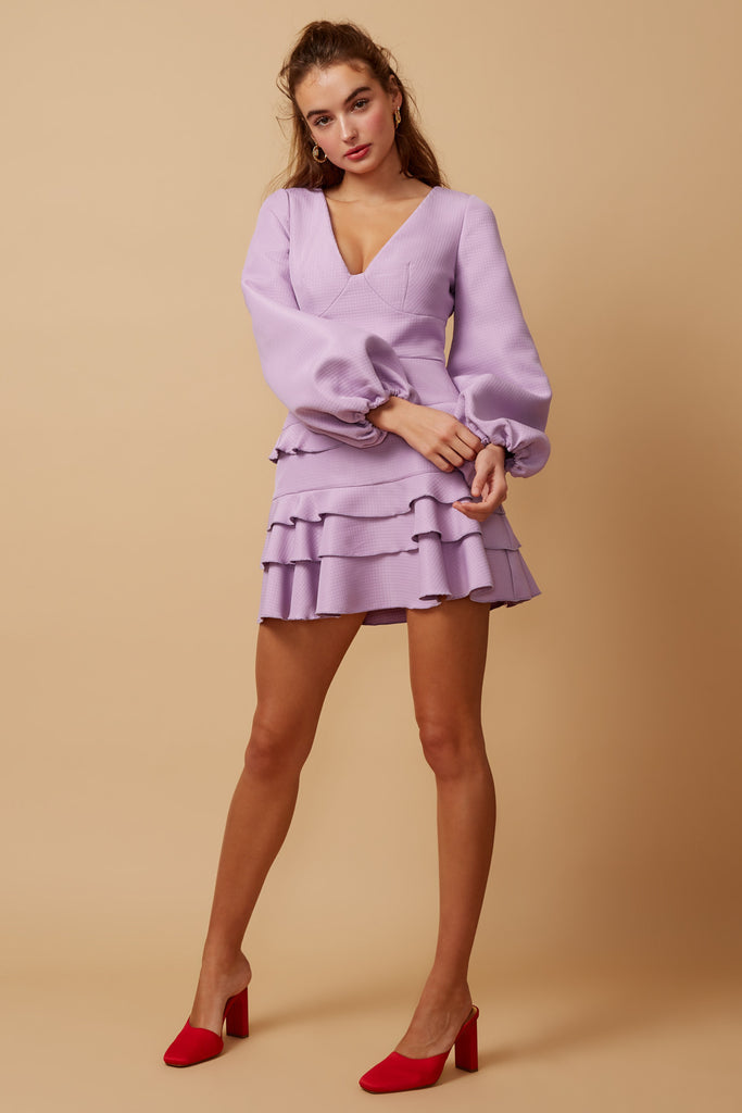 STATIC LONG SLEEVE MINI DRESS lilac