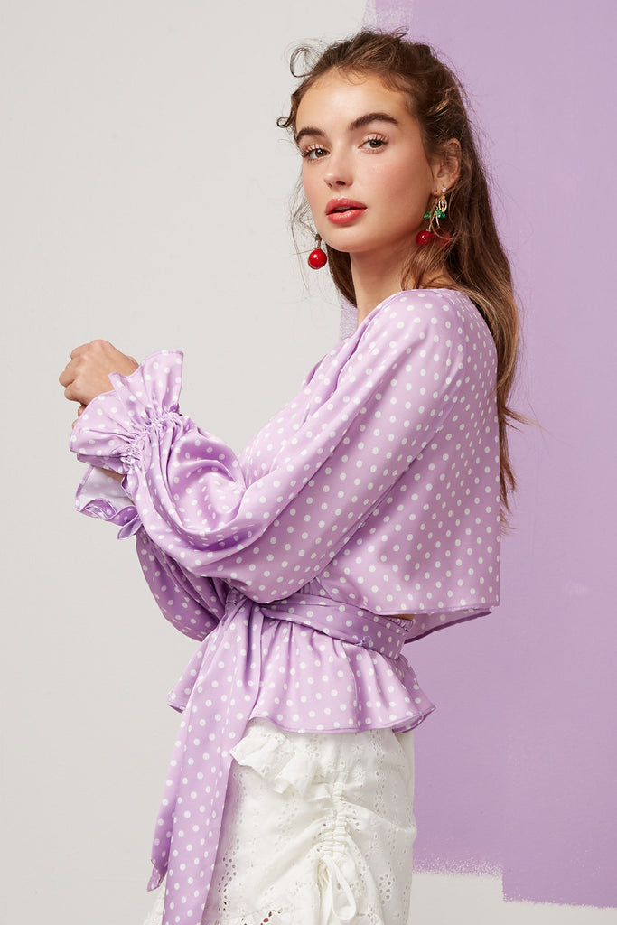 WHISPER LONG SLEEVE TOP lilac spot