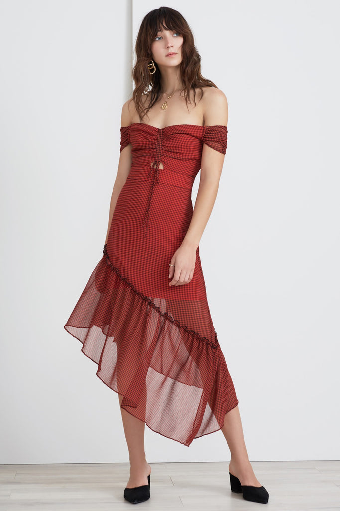 HORIZONS DRESS red w black gingham