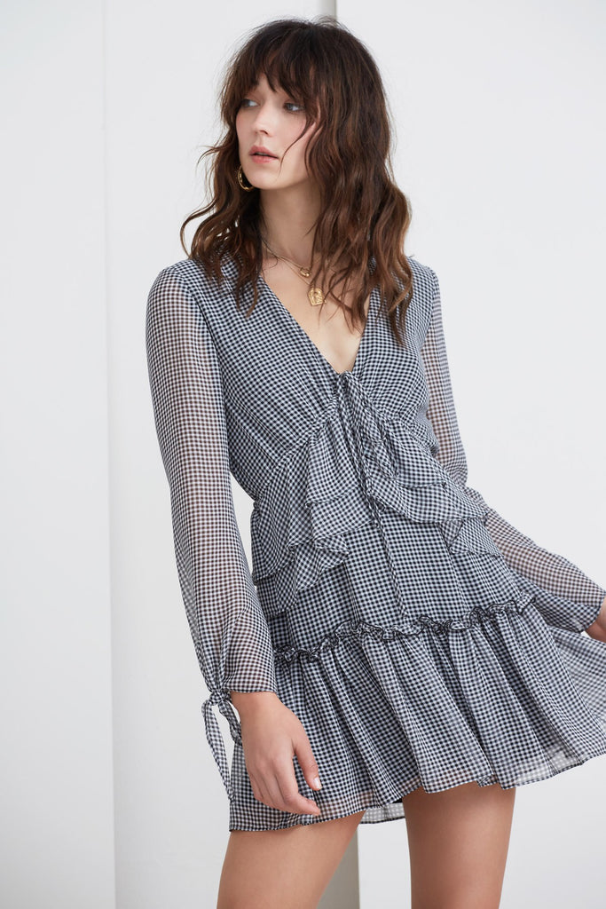 HORIZONS LONG SLEEVE DRESS black gingham
