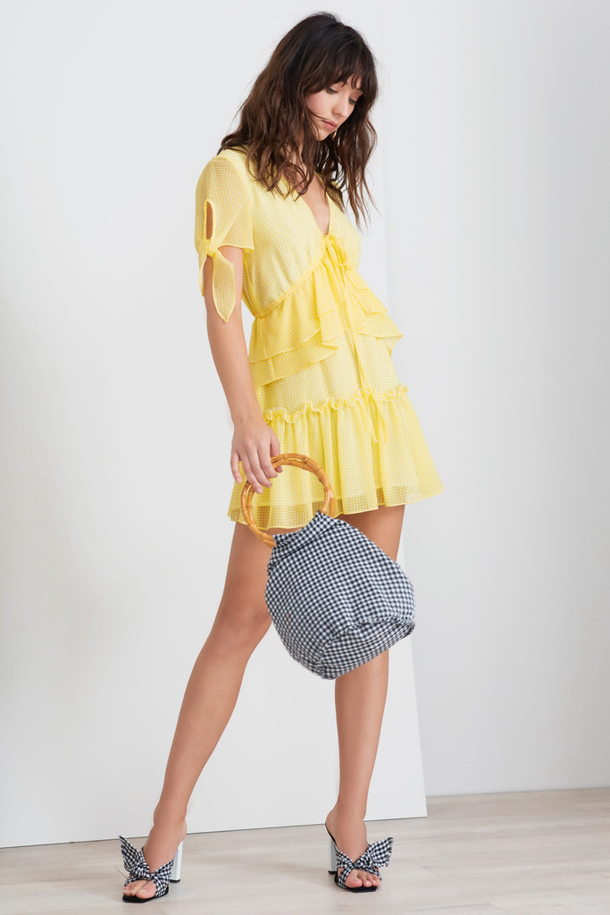 HORIZONS SHORT SLEEVE DRESS lemonade gingham