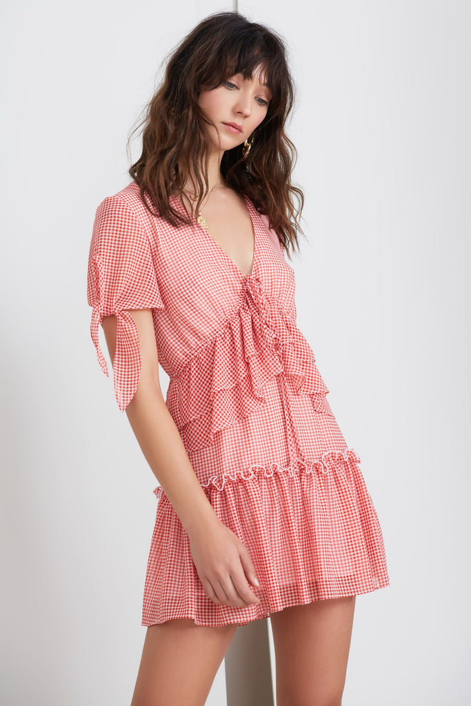 HORIZONS SHORT SLEEVE DRESS red gingham