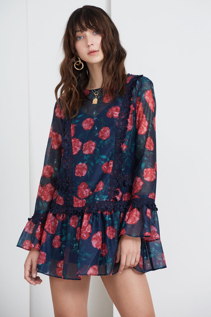 MEADOWS LONG SLEEVE DRESS navy rose