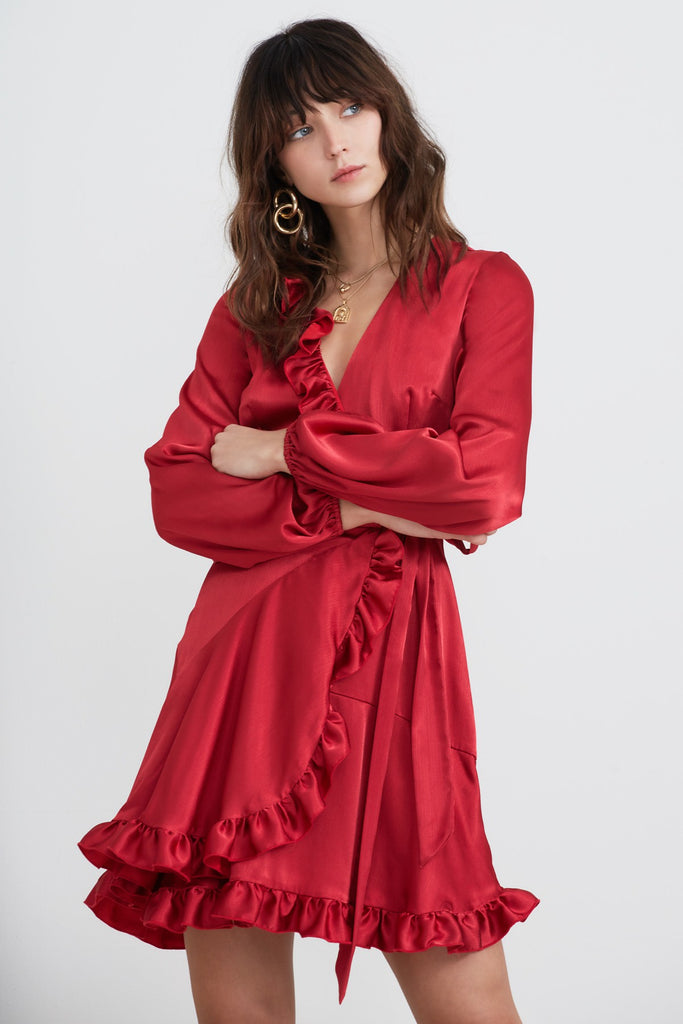 RETROGRADE LONG SLEEVE DRESS pomegranate