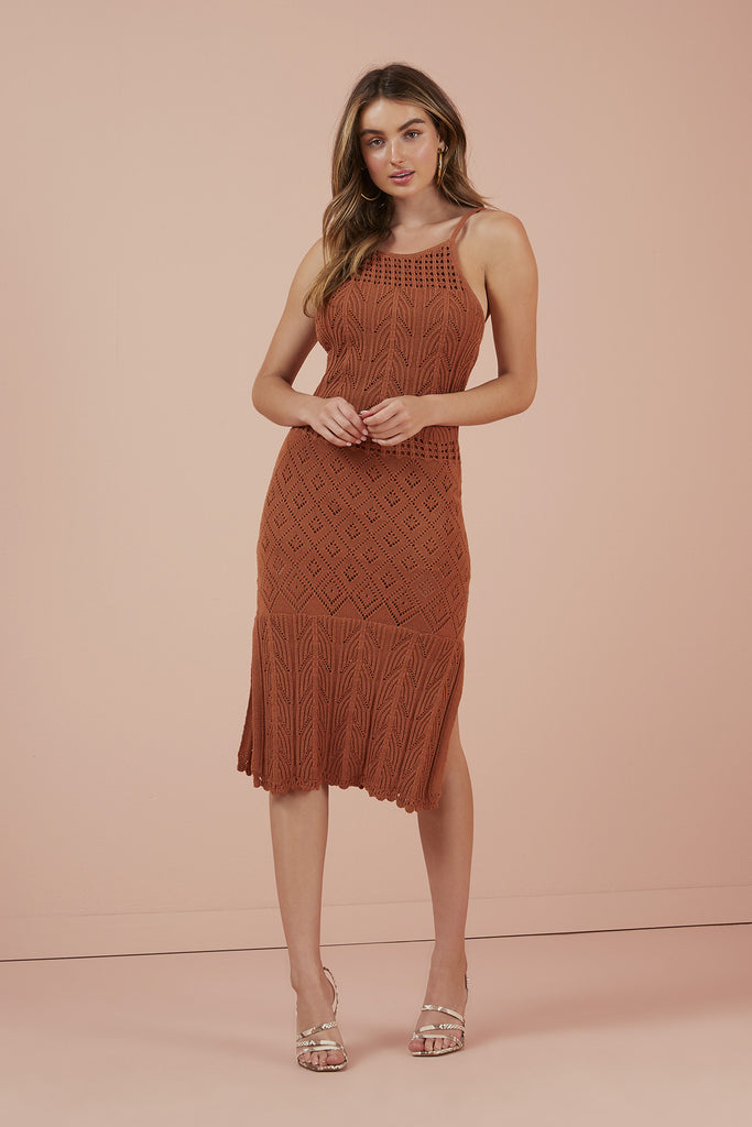 AFTERNOONS KNIT DRESS copper