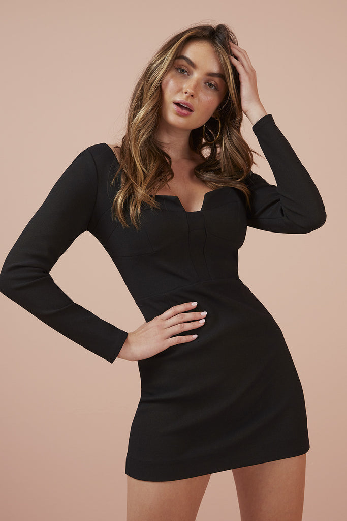 LUNA LONG SLEEVE DRESS black
