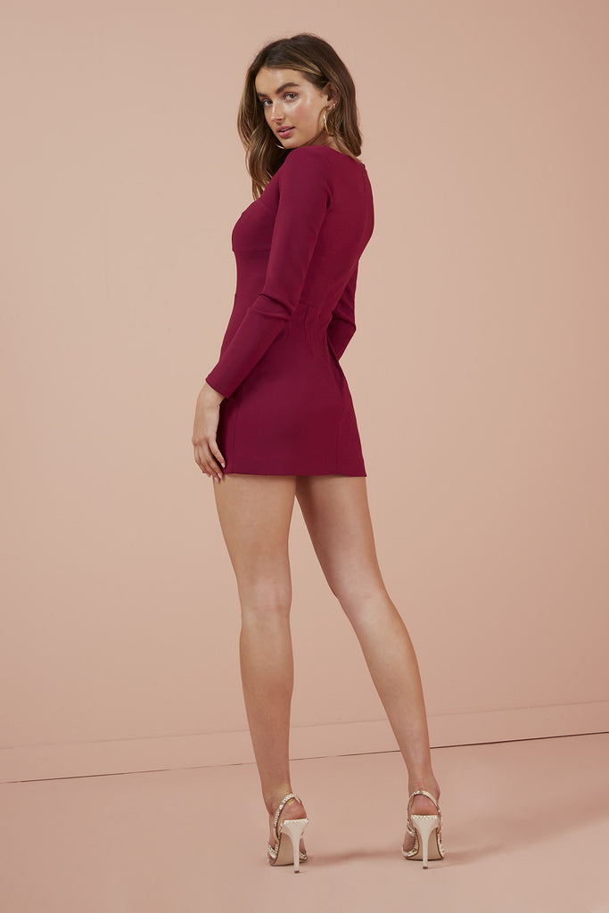 LUNA LONG SLEEVE DRESS berry