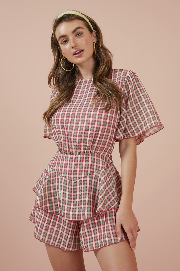 PICNIC PLAYSUIT pink w green