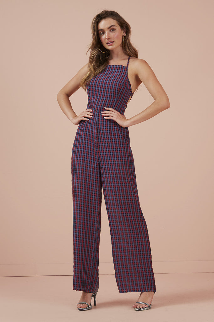 PICNIC PANTSUIT navy w red