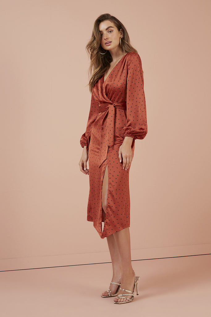 EMILIA LONG SLEEVE DRESS copper butterfly