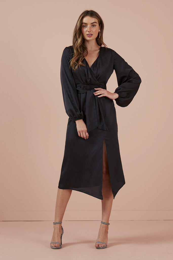 EMILIA LONG SLEEVE DRESS black
