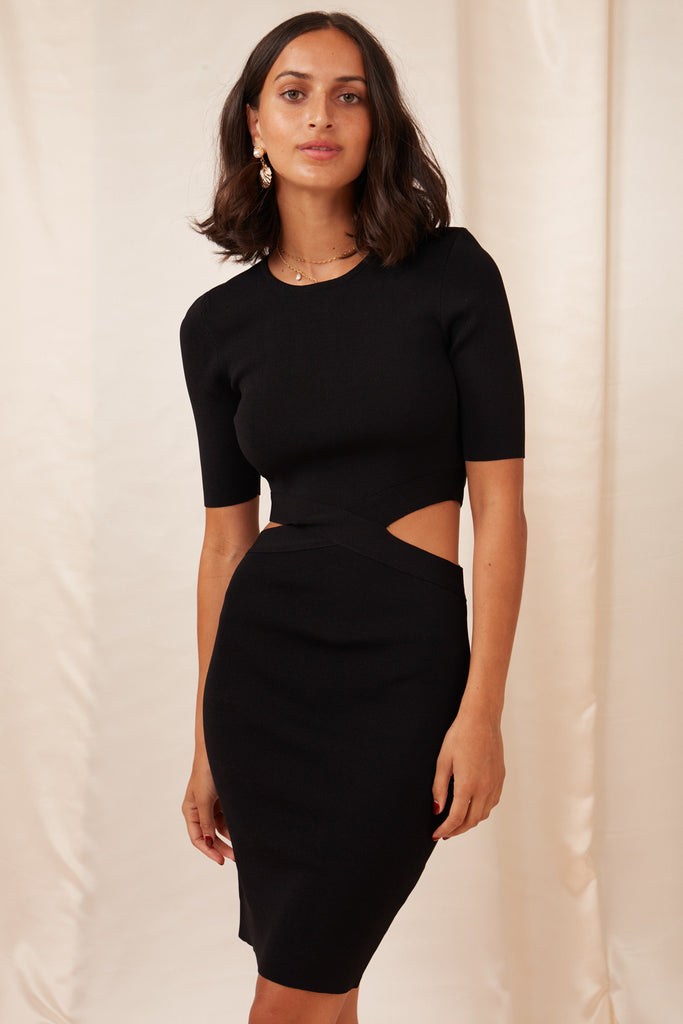 MARINA KNIT DRESS black