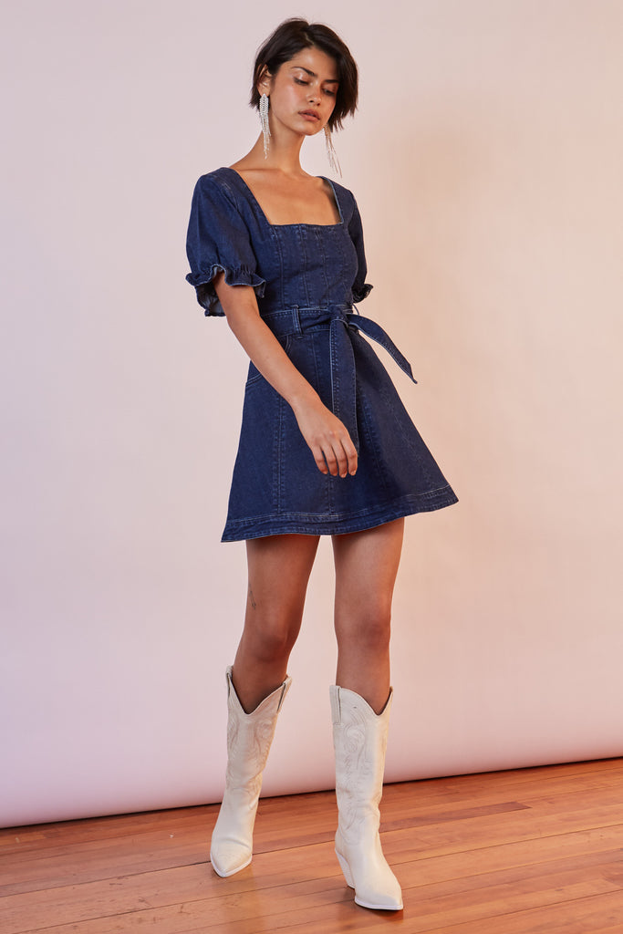 MIAMI DENIM MINI DRESS indigo