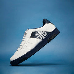 Men's Icon White Dark Blue Leather Sneakers 02074-059