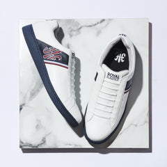 Men's Jazz White Dark Blue Microfiber Low Tops 00973-051