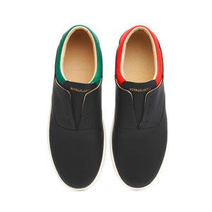 Men's Knight Black Red Green Leather Loafers - ROYAL ELASTICS