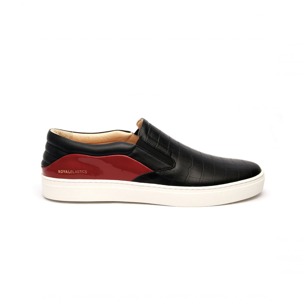 Men's Ketella Black Red Blue Leather Loafers