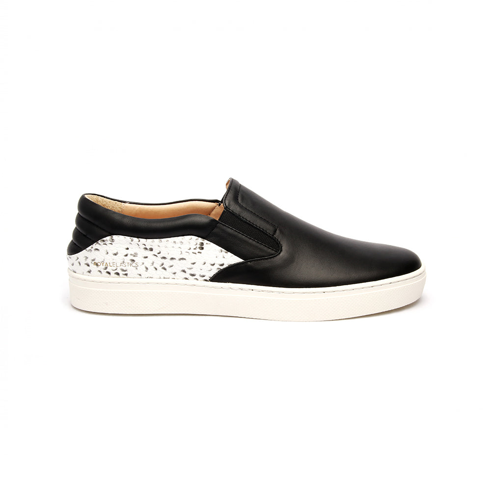 Men's Ketella Black White Leather Loafers - ROYAL ELASTICS