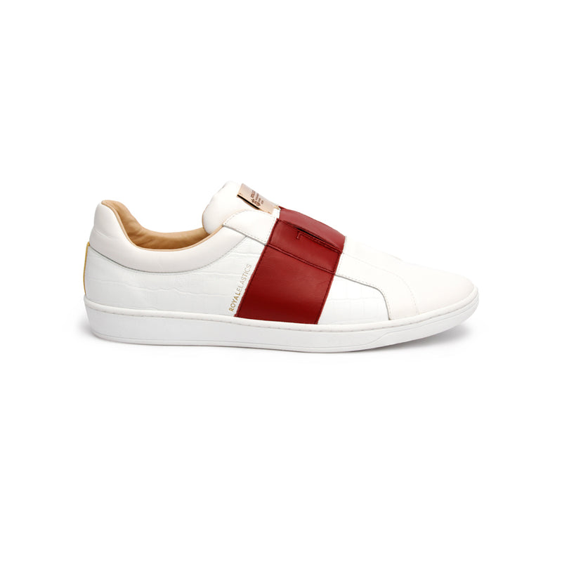 Women's Duke Straight White Red Leather Sneakers - ROYAL ELASTICS