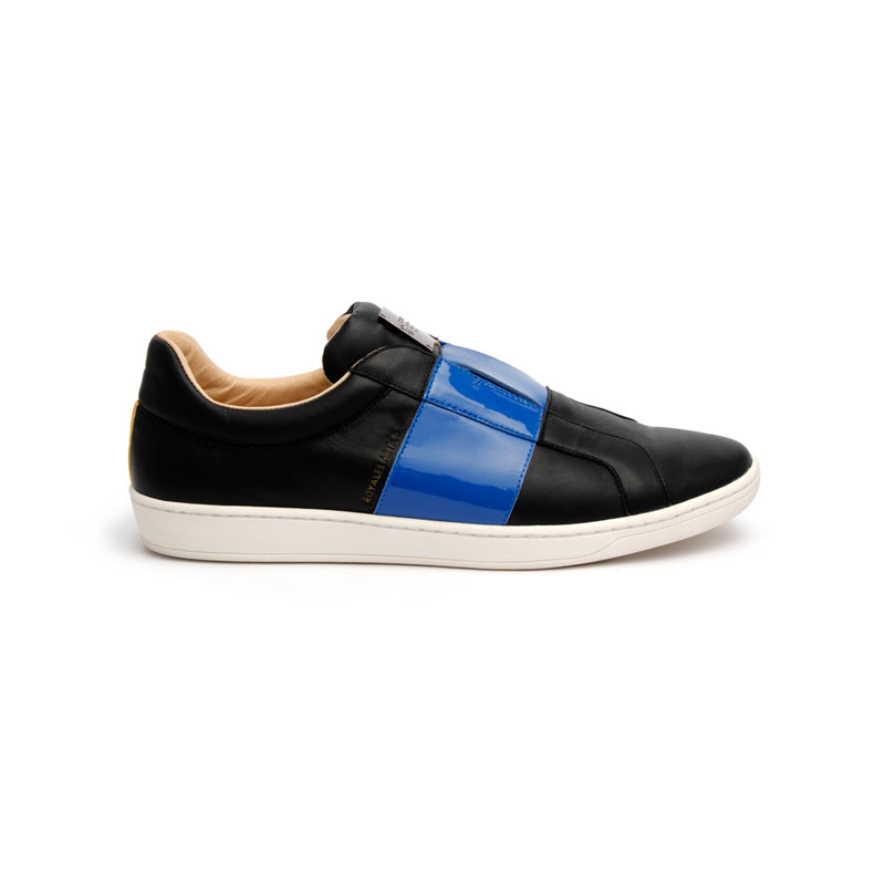 Men's Duke Straight Black Blue Leather Sneakers - ROYAL ELASTICS
