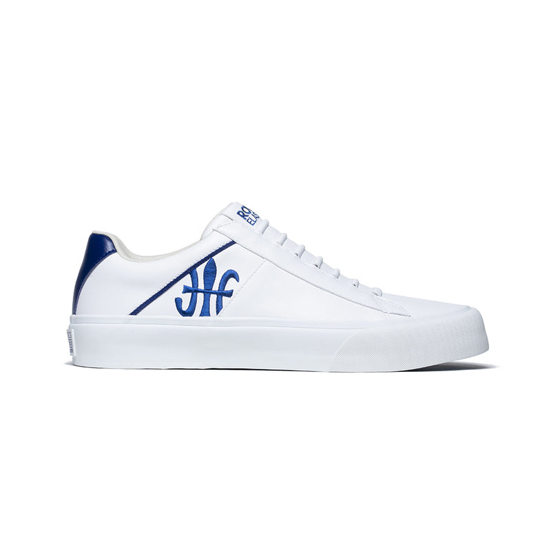 Men's Cruiser White Blue Microfiber Low Tops 00801-005