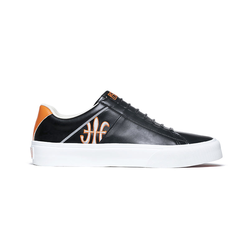 Men's Cruiser White Black Orange Silver Microfiber Low Tops 00801-992