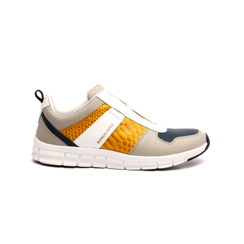 Men's Rider Gray Yellow Leather Sneakers 01183-380 - ROYAL ELASTICS