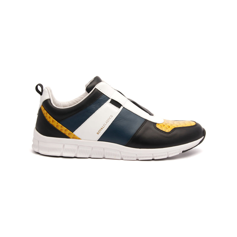 Men's Rider Black Yellow White Leather Sneakers 01183-953 - ROYAL ELASTICS
