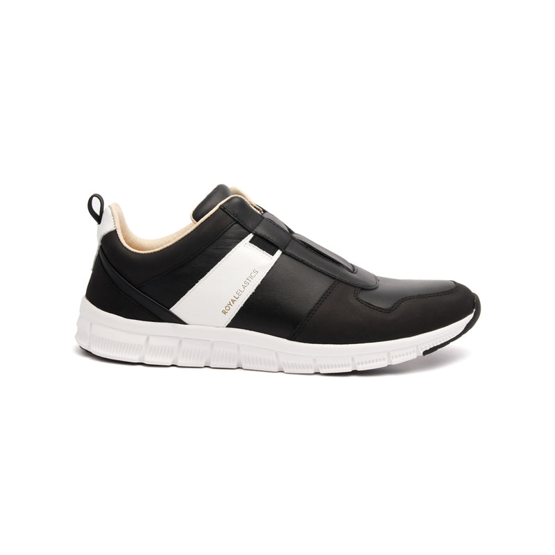 Women's Rider Black White Leather Sneakers 91183-990