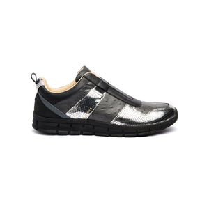Men's Rider Black Silver Leather Sneakers 01184-889 - ROYAL ELASTICS