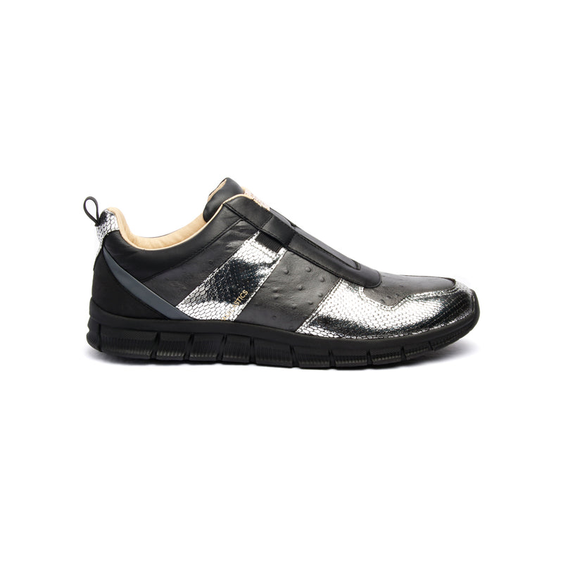 Men's Rider Black Silver Leather Sneakers - ROYAL ELASTICS