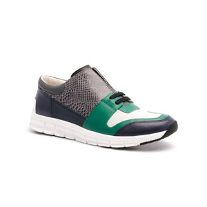 Men's Midnight Rider Navy Green Gray Leather Sneakers 01283-954 - ROYAL ELASTICS