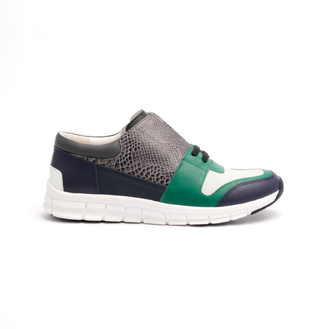 Men's Midnight Rider Navy Green Gray Leather Sneakers 01283-954