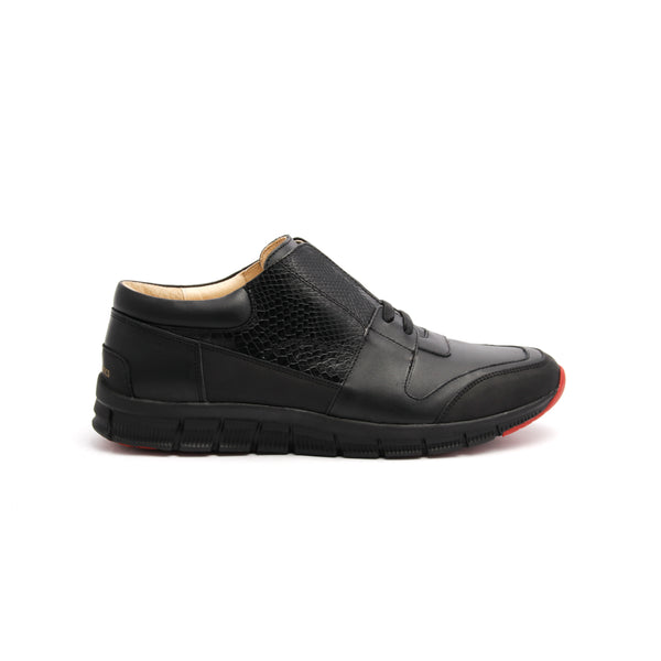 Men's Midnight Rider Black Leather Sneakers 01283-999