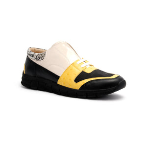 Men's Midnight Rider Black Yellow White Leather Sneakers 01284-039 - ROYAL ELASTICS
